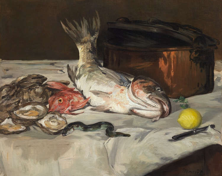 Still-life painting, fish, open oysters, eel, lemon on tablecloth.
