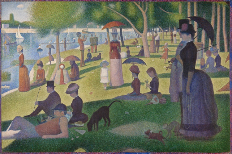 Large painting of people in a crowded park, brushstrokes are dots.