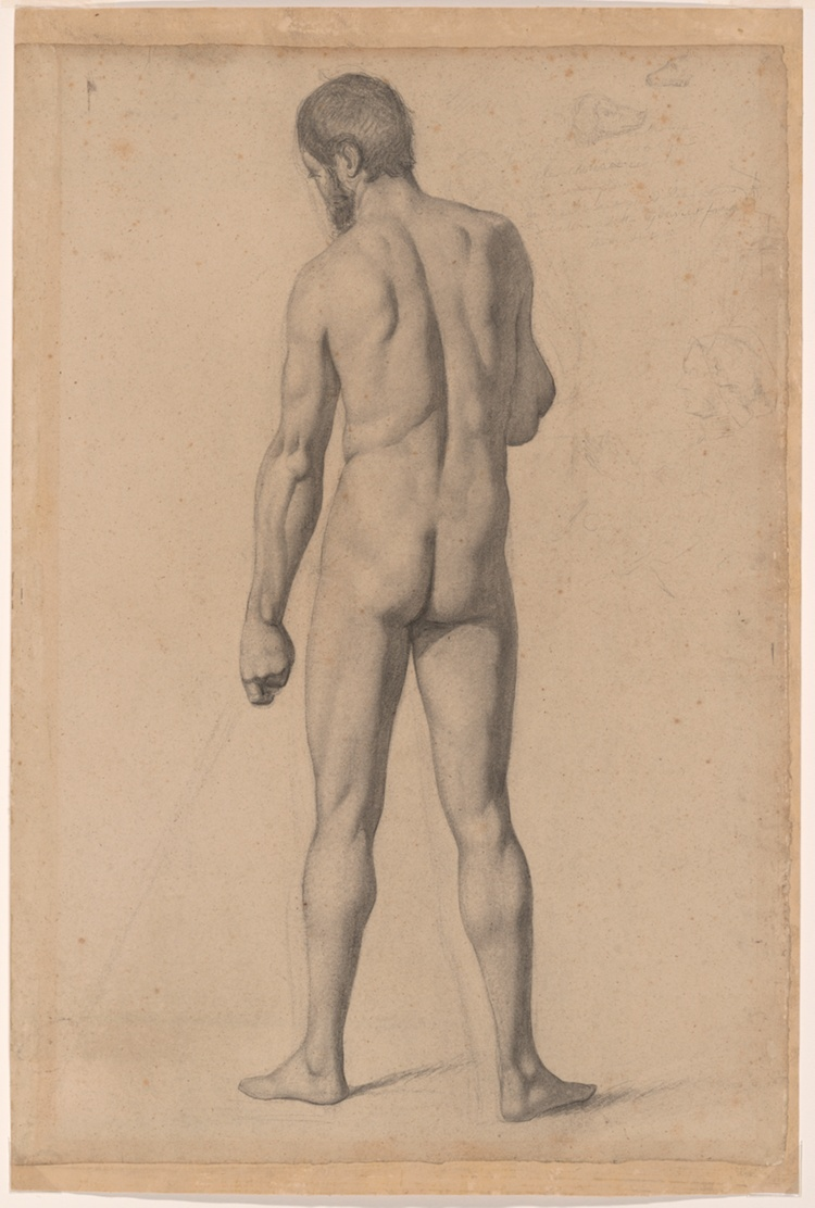 A work made of charcoal and black chalk, with stumping and erasing, and graphite sketches and notations, on tan laid paper, laid down on heavy tan wove paper.