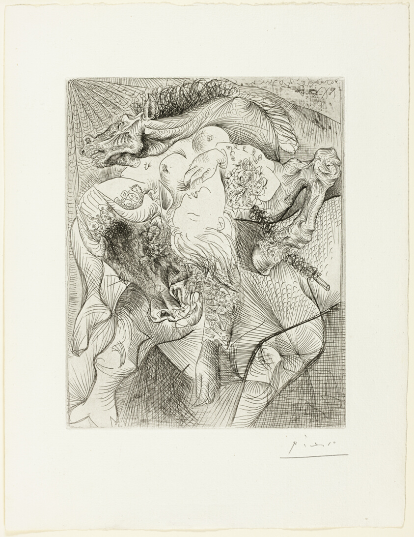 and Four Little Girls on a Tower Surmounted by a Black Flag Pablo Picasso Vollard Suite Harpy with Head of a Bull