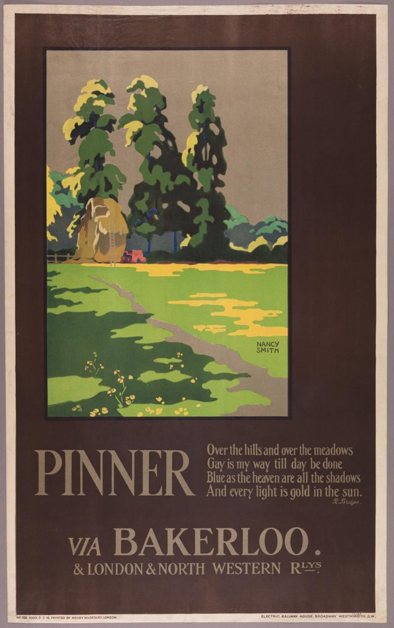 """Nancy Smith: """"Pinner, via Bakerloo"""" (1916). Cartel de la colección digital """"Summertime Pleasures by Underground"""". Imagen: Instituto de Arte de Chicago."""