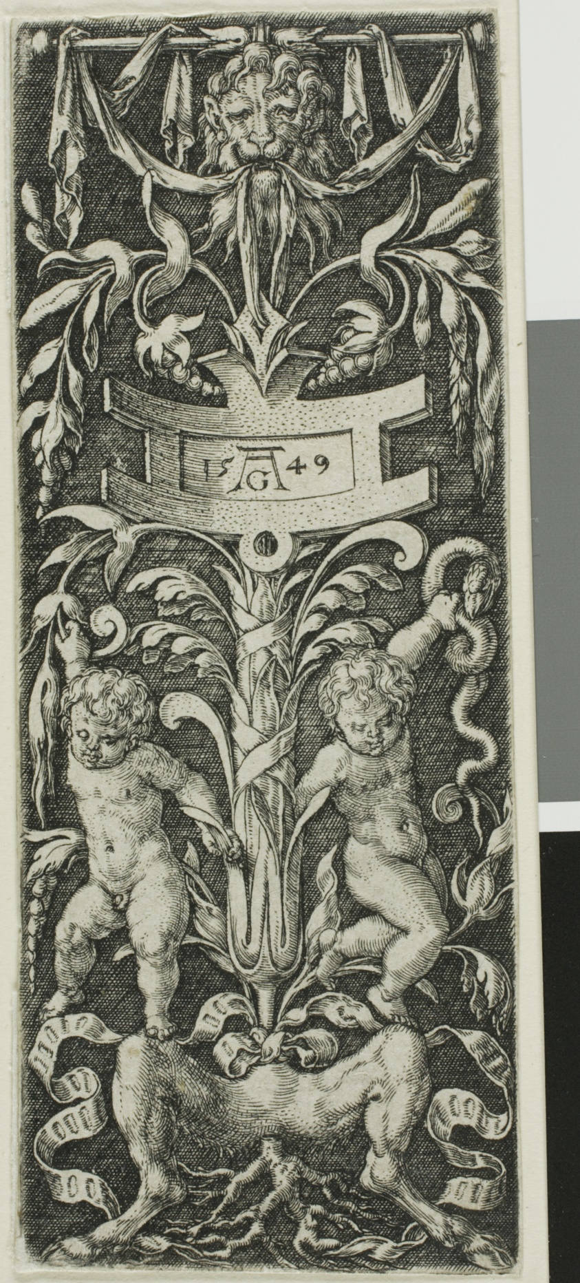 Panel of Ornament with Two Nude Boys Standing on the Legs