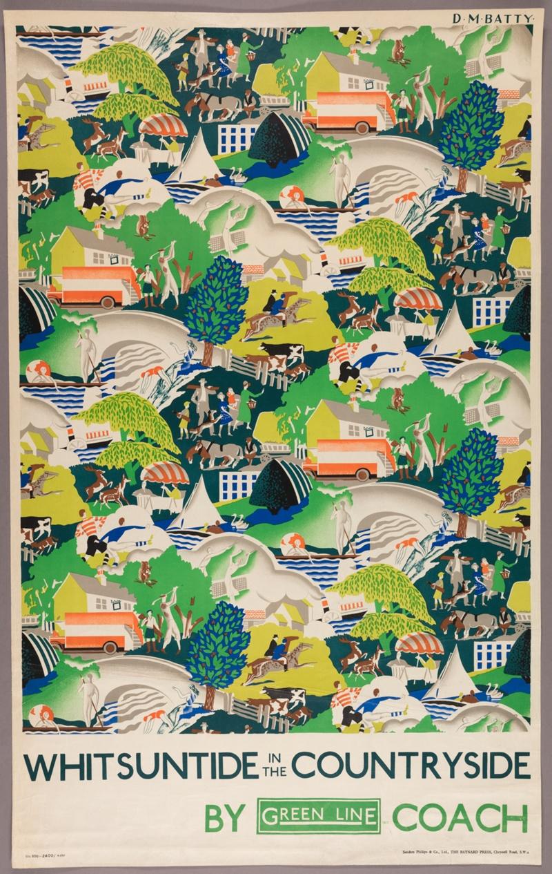 "Dora Batty: ""Whitsuntide in the Countryside"" (1931). Cartel de la colección digital ""Summertime Pleasures by Underground"". Imagen: Instituto de Arte de Chicago."