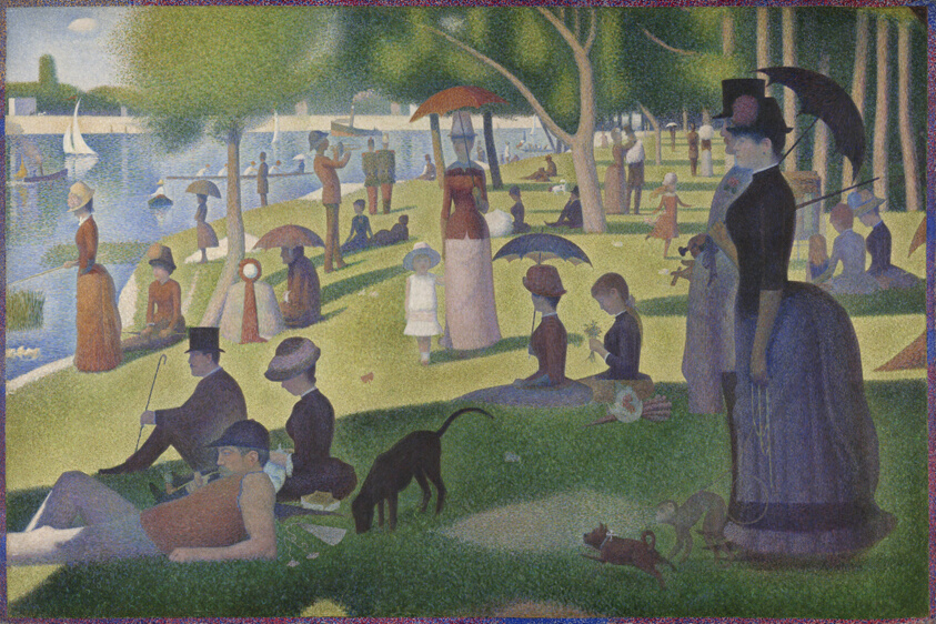 Large painting of people in a crowded park, brushstrokes are dots