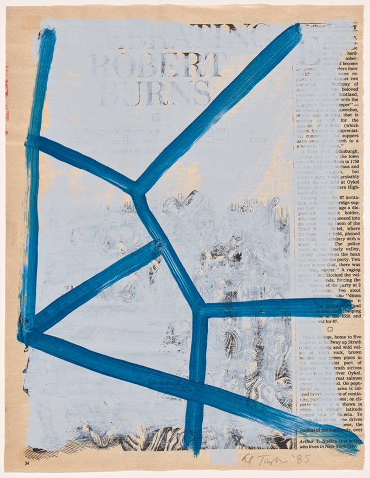 A work made of white and blue acrylic paint over an offset lithograph in black ink on cream wove paper (newsprint).