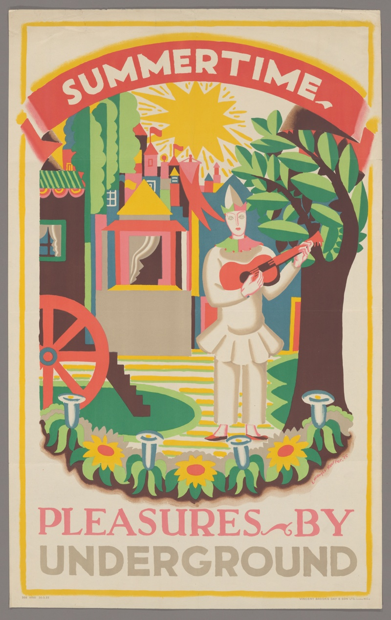 "Cartel de la colección digital ""Summertime Pleasures by Underground"" (1925), Edward McKnight Kauffer. Publicado por Underground Electric Railways Company of London Limited."