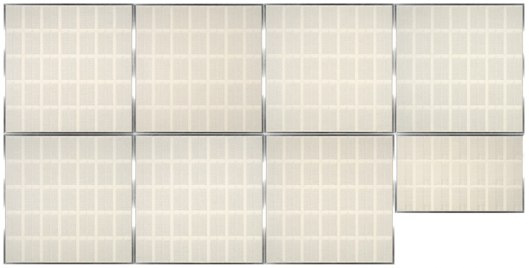 Seven square panels of gray patterned lines on cream paper, wach with five rows and seven columns of neat marks.