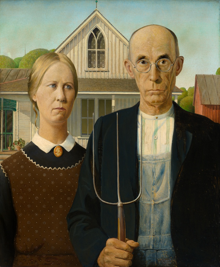 Painting of a woman and an older white man holding a pitchfork, both seen from the waist up. They stand side by side with stern expressions, in front of a white house with a peaked roof.