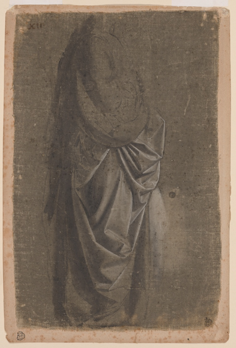 A work made of brush and opaque watercolor, on linen prepared with a gray ground, mounted to cream laid paper.