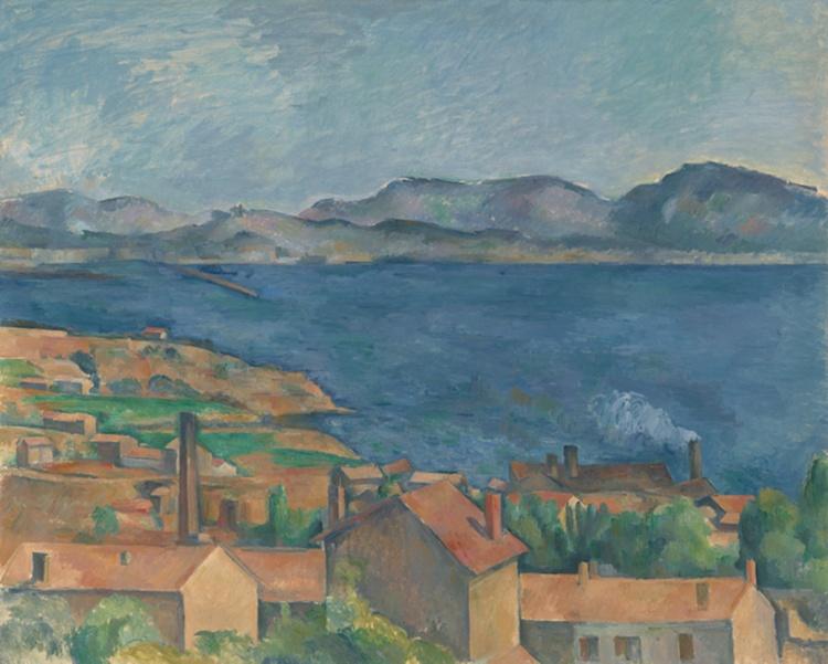 Impressionist sea landscape, tan houses, blue ocean, distant mountains.