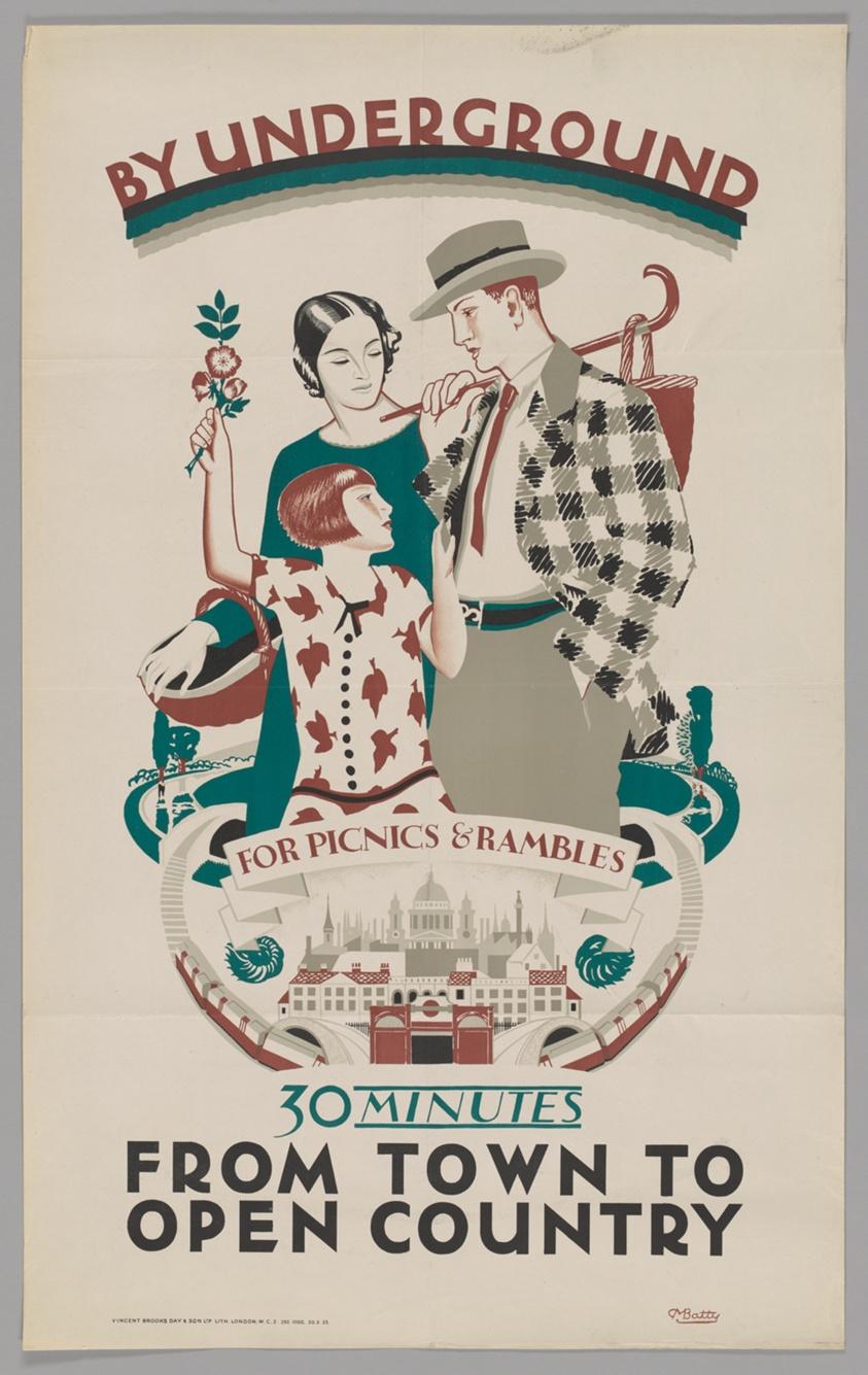 "Dora Batty: ""For Picnics and Rambles from Town to Open Country"" (1925). Cartel de la colección digital ""Summertime Pleasures by Underground"". Imagen: Instituto de Arte de Chicago."